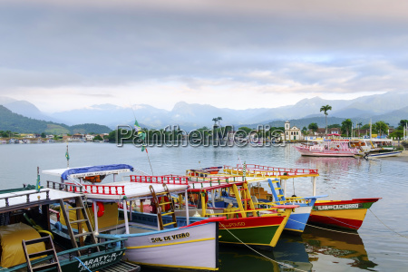 fishing boats in paraty village with