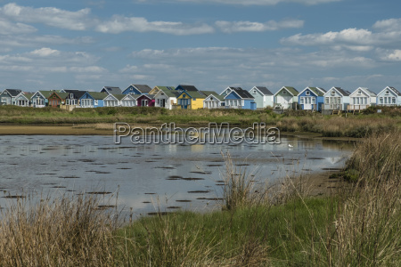 beach huts and lagoon mudeford spit