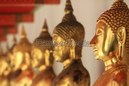 the meditation posture bronze buddhas wat