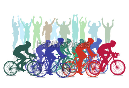 cycle race competition with spectatorsillustration