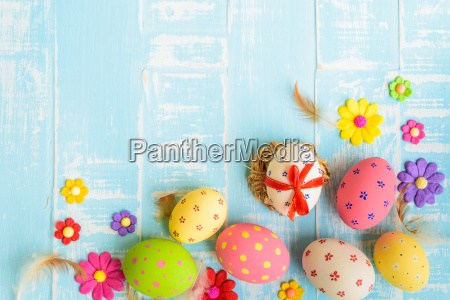 happy easter colorful of easter eggs