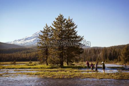 people enjoying in lake by trees
