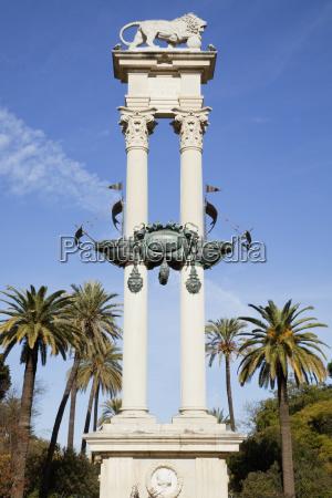 christopher columbus monument sevilla andalucia spain